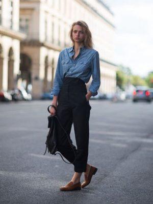 джинсовая рубашка с чем носить