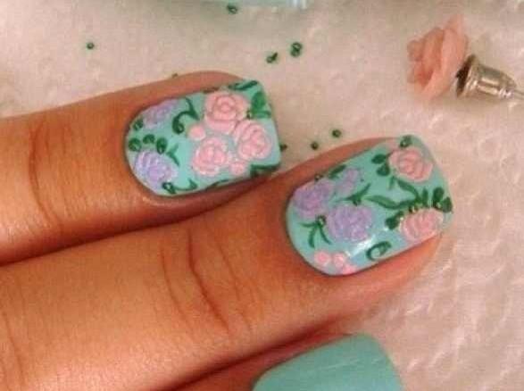 дизайн цветы скотч ногти